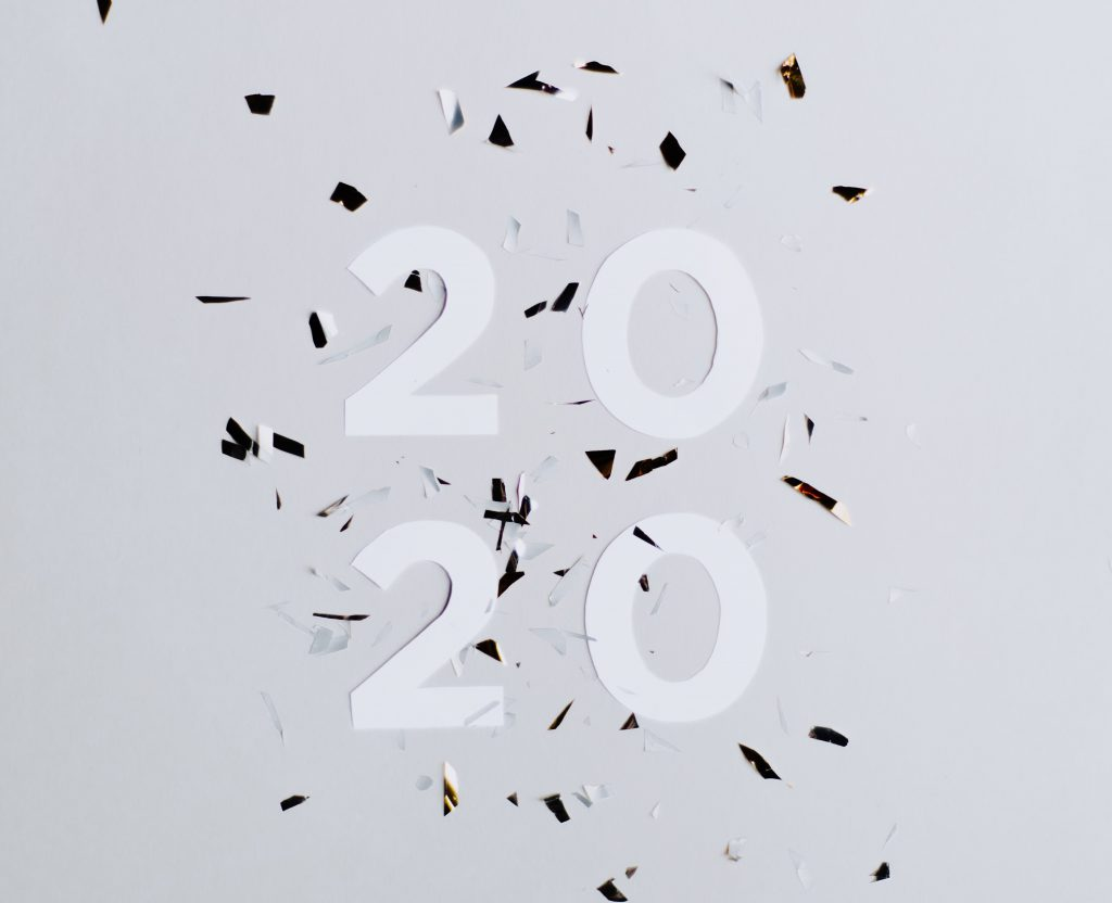 2020 numbers with confetti