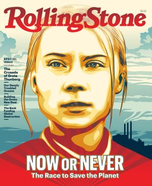 "Rolling Stone cover - girl with blonde hair pulled back, title reading ""Now or Never"""