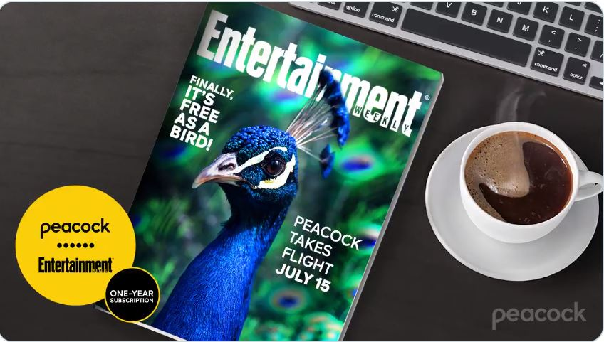 Entertainment Weekly displayed on desk with Peacock free-a-thon giveaway